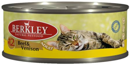 №12 Berkley Adult Cat Beef&Venison (Беркли Эдалт Кэт Биф энд Венисон) - Консервы для взрослых кошек с говядиной и олениной 100 гр