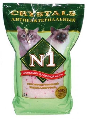 №1 Crystals Antibacterial (№1 Кристалс Антибактериал) - Наполнитель силикагелевый антибактериальный (для кошек) 5 л