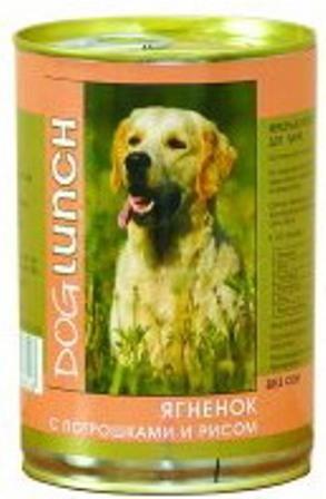 Dog Lunch (Дог Ланч) - Консервы для собак Ягненок-потрошки-рис 410 гр