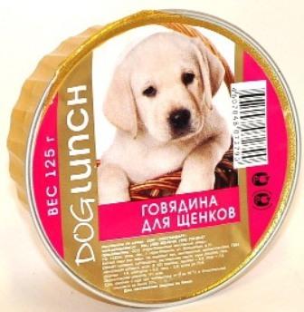 Dog Lunch (Дог Ланч) - Консервы крем-суфле для щенков Говядина 125 гр