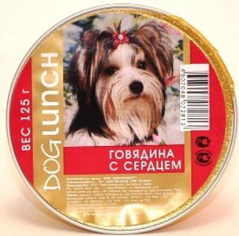 Dog Lunch (Дог Ланч) - Консервы крем-суфле для собак Говядина-сердце 125 гр