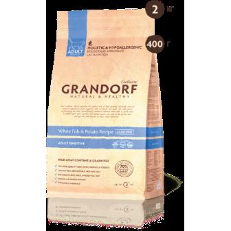 Grandorf Cat (Грандорф Кэт) - Корм для чувствительных  кошек  Белая рыба с бататом 400 гр