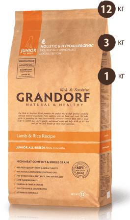 Grandorf (Грандорф) - Корм для юниоров ягненок с рисом 1 кг