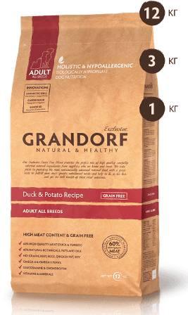 Grandorf (Грандорф) - Корм для собак всех пород утка с картофелем 1 кг