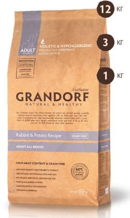 Grandorf (Грандорф) - Корм для собак всех пород кролик с картофелем 12 кг
