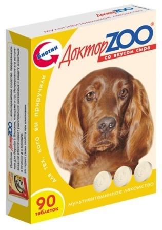 Доктор ZOO - Мультивитаминное лакомство для собак со вкусом сыра 90 таб.