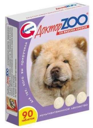 Доктор ZOO - Мультивитаминное лакомство для собак со вкусом лосося 90 таб.