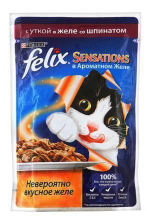 Felix Sensations (Феликс Сенсейшенс) - Пауч для кошек Утка и шпинат в желе 85 гр
