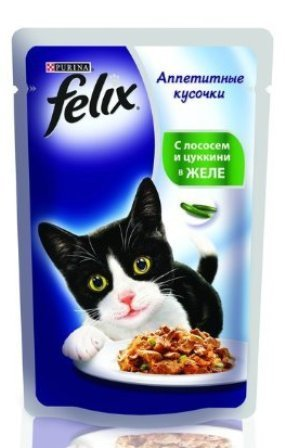 Felix (Феликс) - Пауч для кошек Лосось и цукини в желе 85 гр
