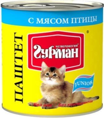 Четвероногий Гурман Мясное Ассорти - Консервы для котят паштет с птицей 240 гр