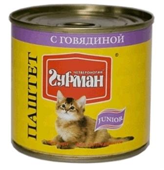 Четвероногий Гурман Мясное Ассорти - Консервы для котят паштет с говядиной 240 гр