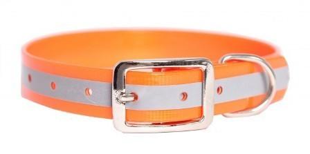 Каскад - Ошейник из биотана со светоотражающей полосой (ширина 15 мм, обхват 21-30 см), оранжевый