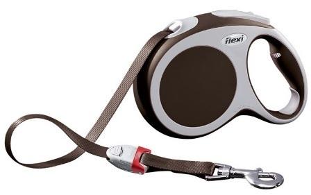 Flexi Vario M tape 5m - Рулетка-ремень Флекси Варио для собак до 25 кг 5 м (цвет коричневый)