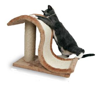 TRIXIE (Трикси) - Когтеточка для кошек Волна на подставке коричневая (сизаль, плюш, 50*29*39 см)