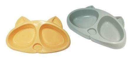Зооэкспресс - Миска для кошек двойная Киска пластик  0,2 л