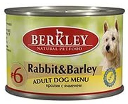 №06 Berkley Adult Dog (Беркли Эдалт Дог) - Консервы взрослых собак Кролик и ячмень 200 гр