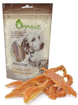 Organix (Россия) - Лакомство для собак Полоски из куриного филе (100% мясо) 100 гр